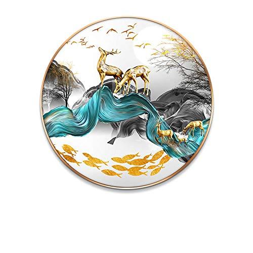 LCSD Murales de pared I Moderno y simple cristal de cerámica de cristal creativo pinturas murales de reina ciervo fu luz de lujo restaurante entrada s...