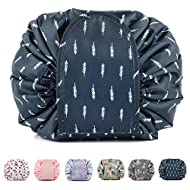 Portable Lazy Drawstring Makeup Bag Travel Cosmetic Pouch Toiletry Organizer Waterproof Large for Wo...