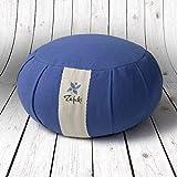 ZAFUKI Zafu Redondo Azul/cojín para Yoga, meditación, Mindfulness/Exterior 100% algodón, Interior cáscara espelta