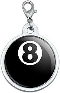 Eight Ball - Pool Billiards Large Chrome Plated Metal Pet Dog Cat ID Tag