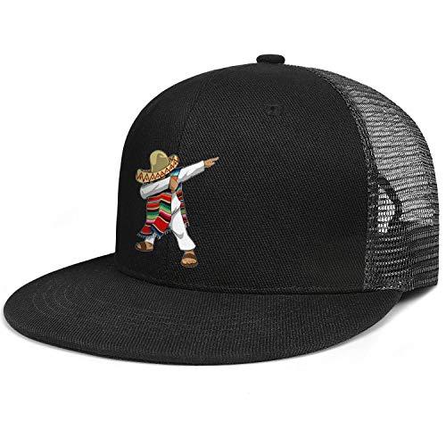 AIKYAN Mexican Flag Poncho Dabbing Cinco Mesh Flatbrim Hip Hop Baseball Cap Quick Drying Basketball Hats