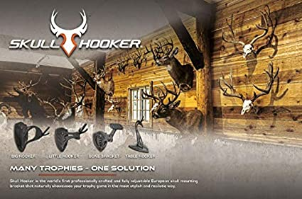 Available in Graphite Black and Robust Brown Perfect Kit for Hanging and Mounting Taxidermy Deer Antlers and Other Skulls for Display Skull Hooker Little Hooker European Trophy Mount