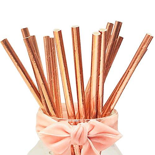 BOFA Rose Goldene Papier-Trinkhalme, Trinkhalme in Metallic-Rose Gold,20 cm/7.87 zoll long,100% biologisch abbaubar, Geeignet für Partys, Hochzeiten und Anlässe, Party, 100 Stück/Set