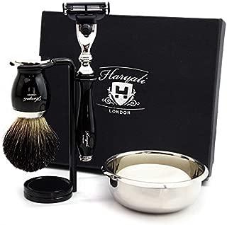 Haryali London 4 Pc Mens Shaving Kit 3 Edge Razor with Black Badger Hair Shaving Brush, Stand and Stainless Steel Bowl Perfect Set for Men