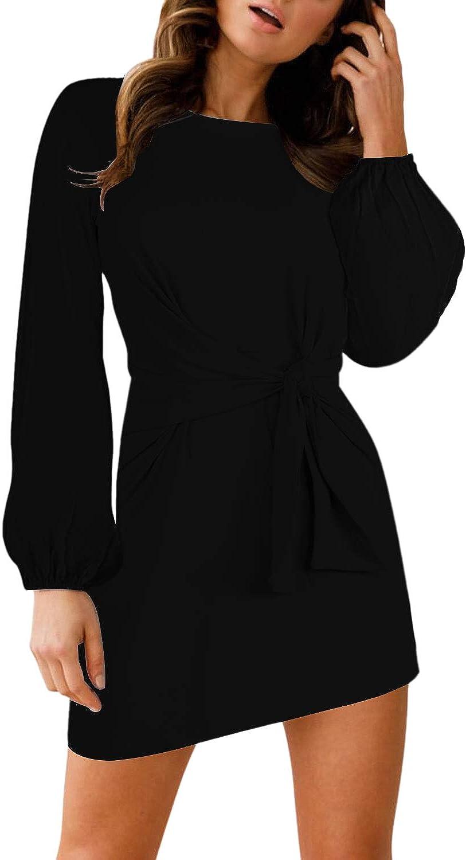 LaSuiveur Women's Casual Bodycon Tie Waist Long Sleeve Cotton T Shirt Dress