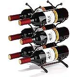 Soporte para Vino de Hierro Forjado, Tres Capas de Bronce, 6 Botellas, Soporte para Botellas, Soporte para Botellas de Almacenamiento en la encimera, para Cocina, despensa, Bodega