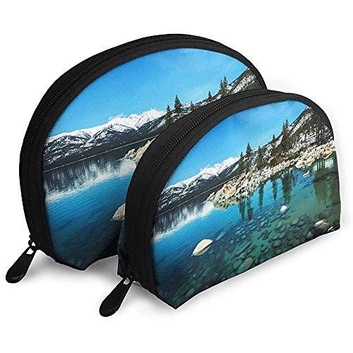Lake Tahoe Scenery Tragbare Taschen Schminktäschchen KulturbeutelTasche, tragbare Multifunktionsreisetaschen Kleine Make-up-Clutch-Tasche mit Reißverschluss