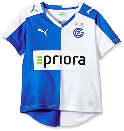 PUMA Kinder Trikot Grasshoppers Zürich Home Shirt Replica with Sponsor Logo, White, Plat Blue, 176