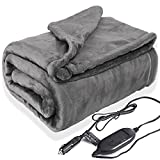 Lifetivity Machine Washable Car Heated Blanket 12 Volt Electric Blanket Plug in Flannel Heating Throw for Car Auto SUV Truck with Controller 3 Heating Level 40x55 inch Gray