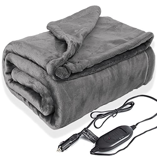 Lifetivity Machine Washable Car Heated Blanket 12 Volt Electric Travel Blanket Flannel Heating Throw for Car with Controller 3 Heating Level 40x55 Gray 45 Watt