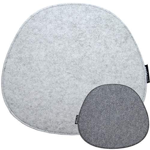 DuneDesign Filz Sitzkissen Oval 40x37cm Stuhlkissen Sitzauflage 8mm Hellgrau Grau