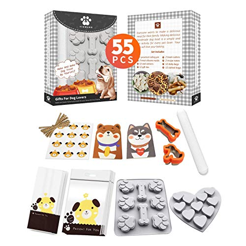 YIGWANG 55 Pcs Dog Treat Maker, Make Your Own Dog Treats Kit for Kids, Including 2 Dog Treat Cookie Cutters and Mold, 2 Dog Treat Recipes Book, 24 Dog Treat Bags, etc.