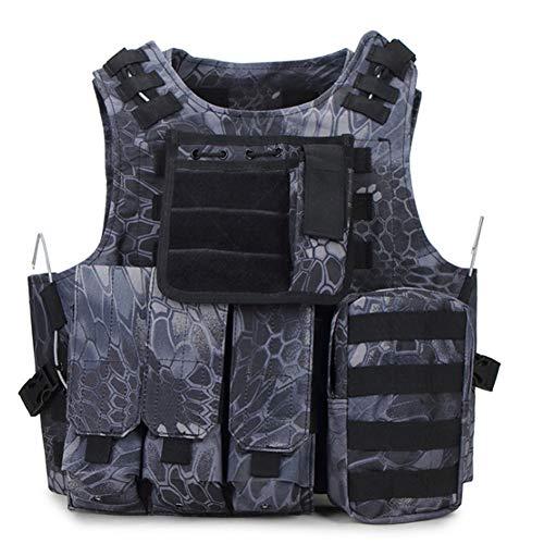Gimuleerde tactische militaire vest, zwarte Python graan patroon, ultralicht ademend vest, waterdicht en slijtvast, voor leger Combat Game Jungle