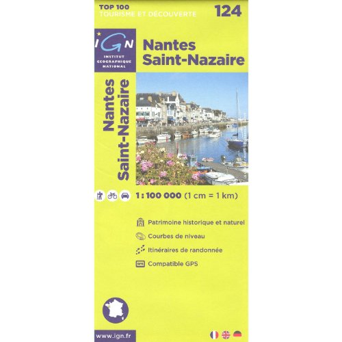 Nantes, Saint Nazaire (Francia, Bretaña), 1:100.000, senderismo topográfico, ciclismo y giras mapa, N º 124 IGN