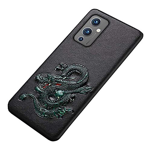 EEKUY Dragon Embossed Design Phone Case, for Oneplus 9 Series (2021) Chinese Style Leather Back Phone Cover [Screen & Camera Protection],Oneplus 9 Pro