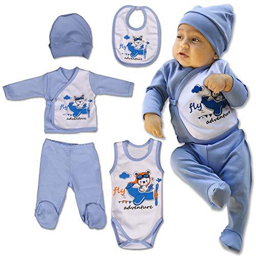QAR7.3 Ropa Bebe Recien Nacido - 5 Piezas para Niños 0-3 Meses - Azul