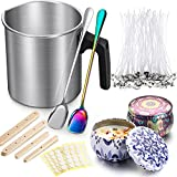 225 Pieces Candle Making Kit 2 Pounds Candle Making Pouring Pot 2 Long Handle Spoon 2 Candle Containers 100 Candle Wicks 100 Candle Wicks Sticker and 20 Candle Wicks Holder for DIY Candles Making