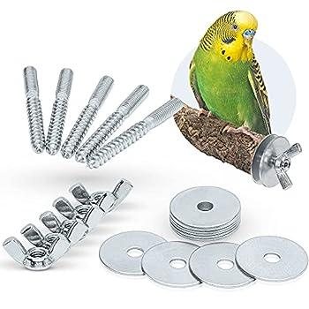 Lot de 5 vis à branche pour bricolage et fixation de cage de jouets pour oiseaux, perchoirs, planches de siège, etc. (acier galvanisé).
