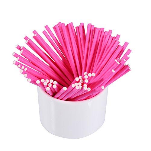 Lollipopsticks 100 Stks/set Kleurrijke Lollipopsticks Cake Pop Sticks voor Het Maken van Lollys Cake Pops Snoepjes Chocolade en Koekjes 10cm(roze)