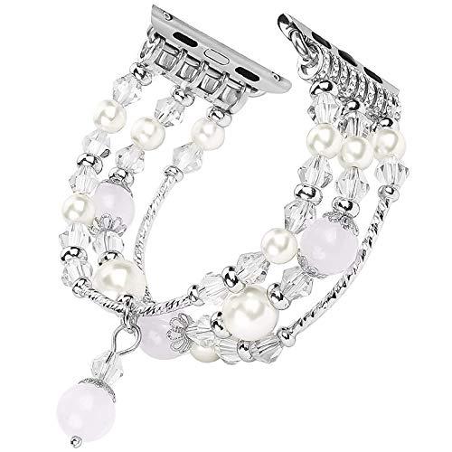 Yiwa horlogeband van agaat, met sieraden, voor smartwatch, toebehoren, wit, 40 - 42 mm
