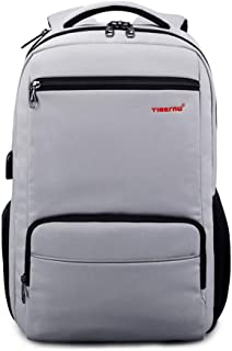Casual Student Bag Large-Capacity Backpack Anti-Theft USB Charging Computer Backpack 15.6 Inch GHMOZ (Color : Silver)