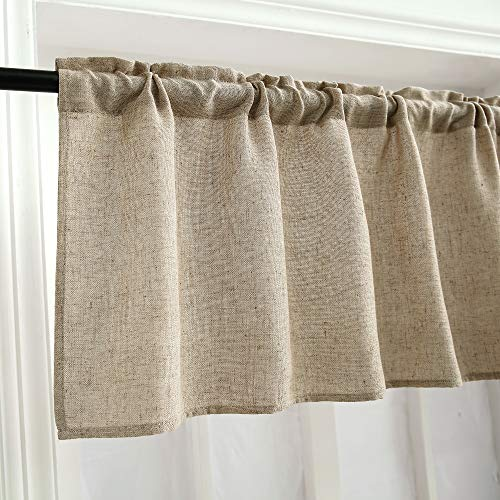 Curtain Valances for Windows Burlap Linen Window Curtains for Kitchen Living Dining Room 58 x 15 inch 1 Valance Linen Coffee