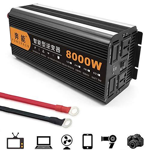 FCX-SHEARS Auto Wechselrichter Reiner Sinus 8000W Spannungswandler DC 12V 24V auf AC 230V Power Inverter mit Steckdose und USB LED Spannungsanzeige - KFZ Stromumwandler,24Vto220V