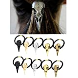 Carykon 10PCS Women Hair Tie Alloy Crow Skull Elastic Ponytail Holders, Mixed Colors