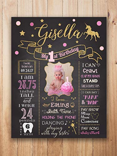Princess 1st Birthday Chalkboard Sign, Unicorn First Birthday Poster Baby Girl PICTURE, Princess Milestone Board Sign PHOTO, Princess Party