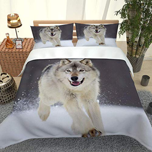 MQBHJI Duvet Covers King Size Beds - 3 Pcs Ultra Soft Hypoallergenic Microfiber King Size Bedding Sets With Zipper Closure With 2 Pillowcases, 230X220cm, 3D Printed Snow Animal Wolf