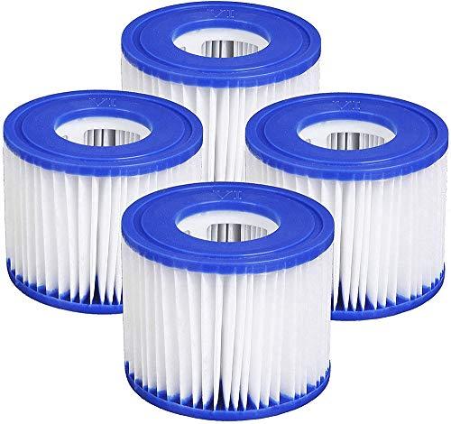 YAOL 4pcs Pool-Filterkartusche Größe VI für Bestway, umweltfreundlich, einfaches Set-Poolfilter, 60 gefaltetes weißes Filterpapier für Pool- und Aquarienreinigung
