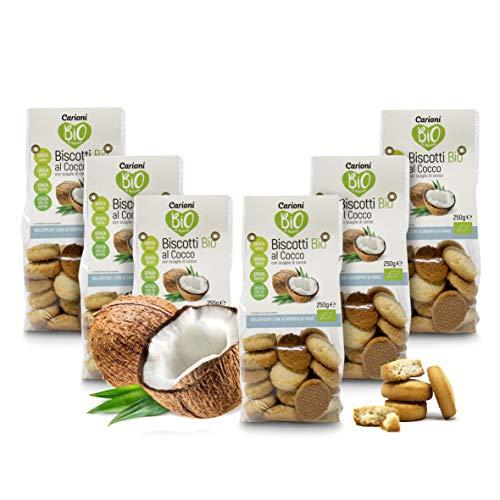 Carioni Food & Health Biscotti biologici con Scaglie di Cocco, 250g (Confezione da 6 Pezzi)