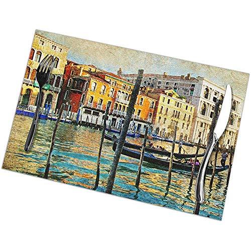 Eliuji Placemats Place Mats Placemats Stad Vintage Venetië Italië Stad Rivieren Lake Water Gebouwen Boot