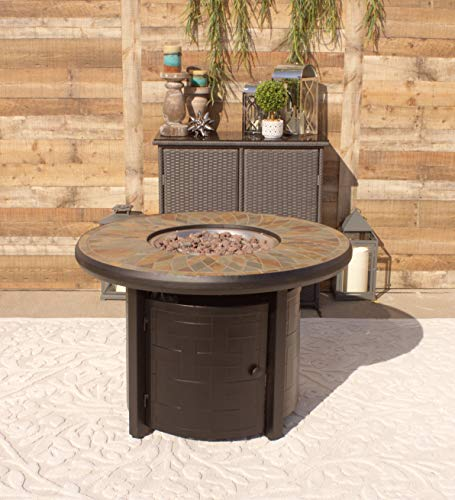 """Pebble Lane Living 42"""" Natural Slate and Copper Top Outdoor Propane Gas Fire Pit Table: Powder-Coated Black Frame"""