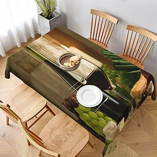 Tovaglia,vino rosso borgogna e cibo in stile francese,Tovaglie Rettangolari Antimacchia Riusabile Casa Cucina Cena Picnic Tovaglia Decorazione da Tavolo 152x228cm