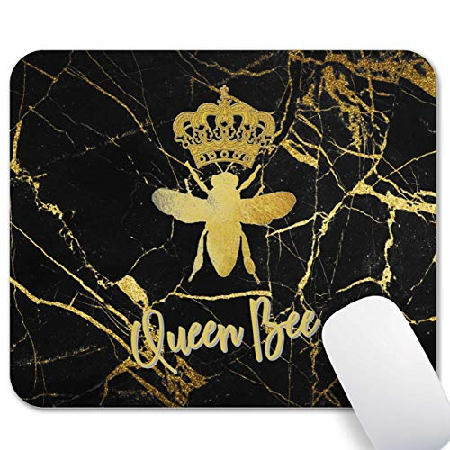 Mechanical Cattle Mouse Pad Marble , Queen Bee Mouse Pad, Vintage Art Wooden Marble Back Ground Design Mouse Mat, Non-Slip Rubber Base Portable Office Home Travel Mousepad, Waterproof Small Mouse Pad