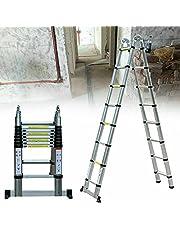 Fetcoi 5 m opvouwbare aluminium telescopische ladder, multifunctionele ladder, aluminium vouwladder, 150 kg laadcapaciteit, telescopische ladder, multifunctionele ladder, vouwladder, ladder, ladder, ladder, staladder