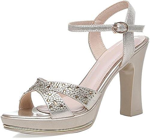 Jqdyl Talons Hauts Sandales New Ladies talons hauts Dames avec des Chaussures à Talons Strass étanches Plate-Forme d'été