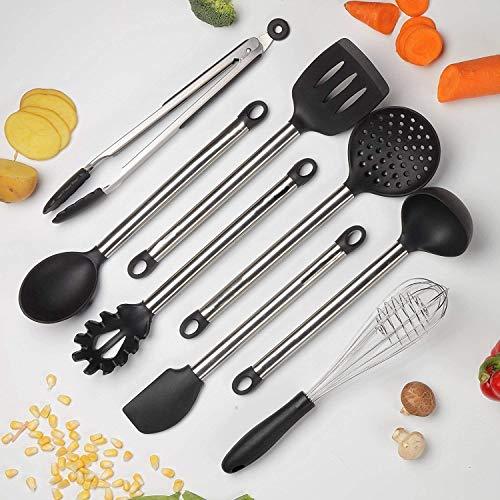 Utensili da Cucina Silicone Set Posate 8 Pezzi - mestoli, Spatola, Frusta, Cucchiaio, Schiumatoio,...