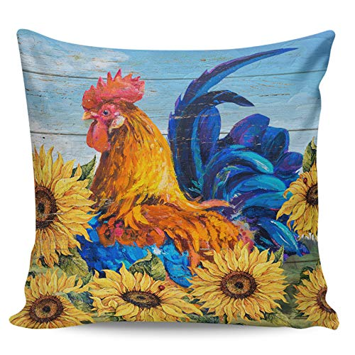 Winter Rangers Decorative Throw Pillow Covers- Idyllic Style Farm Rooster And Sunflower Ultra Soft Pillowcase Comfy Square Cushion Cover Case for Sofa Bedroom, 20' x 20'