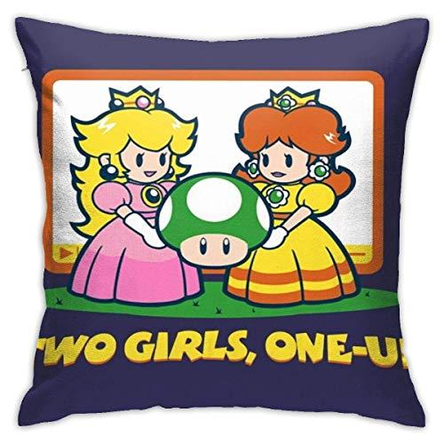 WH-CLA Cushion Cover Mario Bros Two Girls One Up Home Funda De Almohada Decoraciones para Interiores De Coche 45X45Cm Funda De Cojín Sofá Silla Throw Funda De Almohada Animación Cojín CU