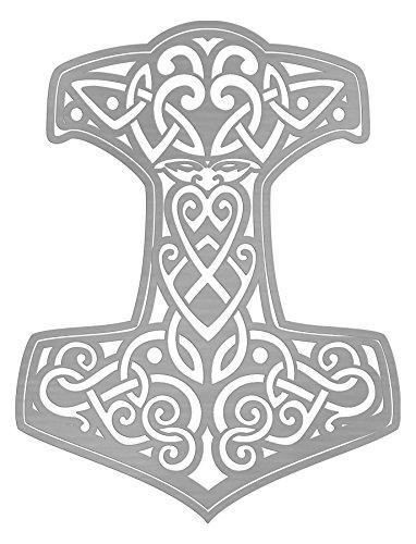Pegatinas Thor Martillo 4 10 x 7 cm plata