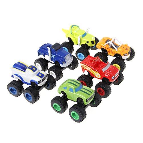 Junlinto, 6Pcs Blaze Vehicles Racer Cars Trucks Regalos para niños Diecast Juguetes Juguetes Máquinas