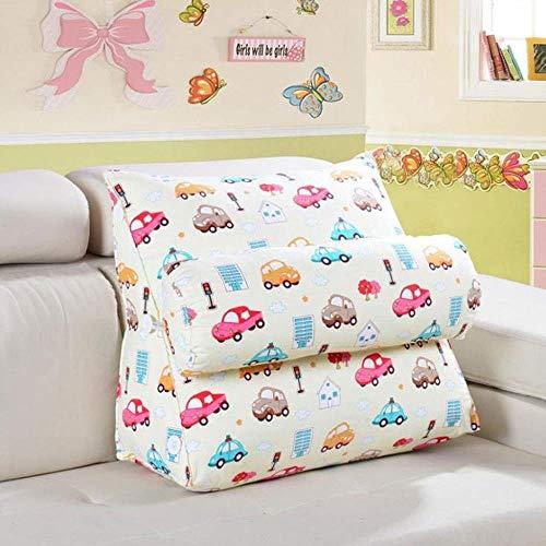 pillow Cojín cómodo para personas perezosas, lavable, doble uso, triángulo, lectura, respaldo grande, soporte de cama suave (color: C, tamaño: 45 x 22 x 50 cm)