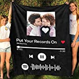 Custom Blanket with Picture Scannable Spotify Code Photo Black Blanket Personalized Throw Soft Blanket Fleece Blanket Design Your Own Blanket Baby Adult Bed Decor Bedroom Birthday Wedding Gift 40x47