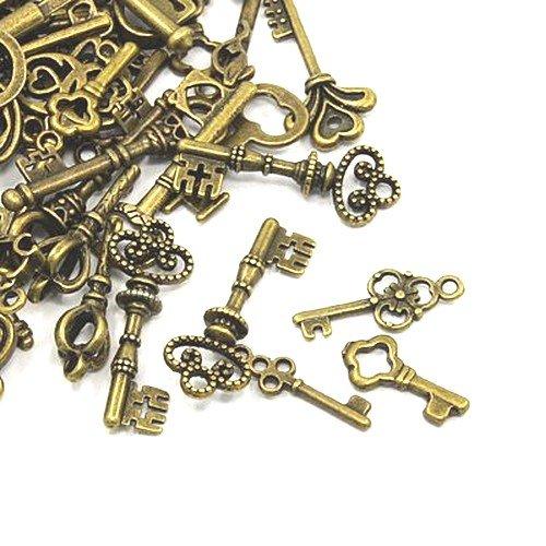 Tibetan Key Charm Pendants Antique Bronze 5-40mm Pack of 30g