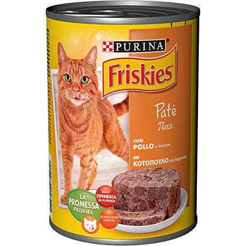 Purina Friskies - Húmedo Gato Paté con Pollo y Verduras, 24 latas de 400 g, 24 x 400 g