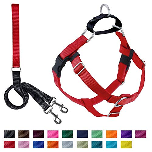 "2 Hounds Design Freedom No-Pull Dog Harness and Leash, Adjustable Comfortable Control for Dog Walking, Made in USA (XLarge 1"") (Red)"