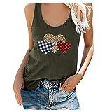 Betory Damen Sommer Ärmellos U-Ausschnitt T-Shirts Cute Love Heart Printed Casual Loose Swing...