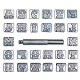 INNETOC 27 pcs 3/4″ 19mm A-Z Alphabet Letters and Pattern Stamping Punch Tools Set for Leathercraft, Belts, Saddle and Other Leather DIY Project (3/4″(19mm), Letter)
